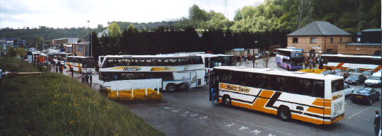 Adams Park Saturday morning 8th May 1999 - Just look at all those coaches, a bus spotters dream!