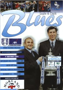 Sanch and Gibbo hold the FA Cup as seen on the cover of the Wycombe v Oxford programme 30th October 1999 - copyright Wycombe Wanderers Football Club