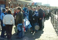Fans set off from High Wycombe station - picture Paul Lewis